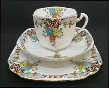 Very Rare Hand Painted Royal Albert Art Deco Crown China Trio C1930s