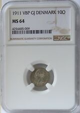 1911 VBP GJ Denmark 10 Ore NGC MS64.  Key Date, Tough to Find and Nice Luster.