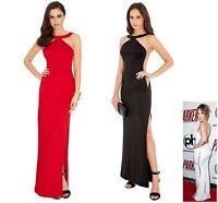 Long Evening Maxi Dress Ladies Red Black Formal ball gown prom 10 12 14 16 18