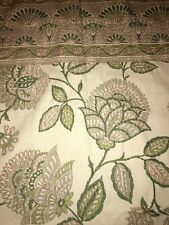 """World Market Green Jacobean Floral Scroll Curtain Panel Ivory Lined 48x84"""" One"""