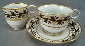 Flight Worcester Brown & Gold Leaf Tea Coffee Cup & Saucer Trio C. 1792-1807 A