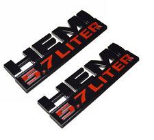 2x OEM  Black 5.7 LITER HEMI Emblems Badge 3D L for Dodge RAM 1500 Red
