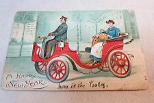 A HAPPY NEW YEAR RED ANTIQUE CAR 1907 EMBOSSED POSTCARD