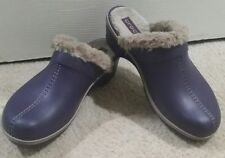 Women's CROCS Cobbler Leather Clog Mule w Faux Fur Lining》Mulberry/Mushroom》11