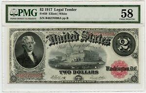 Genuine 1917 PMG58 Legal Tender $2 FR#59