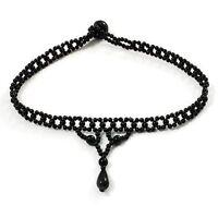 Black Bead Choker Vintage Style Black Acrylic Beaded Stretch  Flex Choker -5551