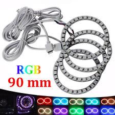 4Pcs 90mm 5050 RGB LED Angel Eyes Light Halo Ring Lamps Car Headlight Remote Kit