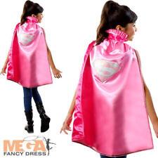 Supergirl Pink Cape Girls Fancy Dress Superhero Comic Book Kids Child Costume Ac