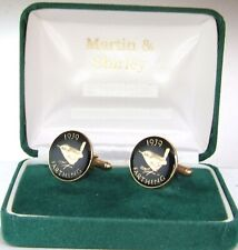 coins in Black & Gold 1939 Farthing Cufflinks made from real