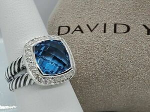 David Yurman Sterling Silver Albion Ring 11mm with Blue Topaz and Diamonds Sz 5