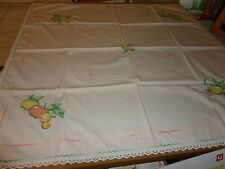 Vintage retro  cream tablecloth with apple and pear applique & embroidery  edge
