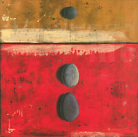 """32W""""x32H"""" PIERRES APPARENTES SANS HISTOIRE by MARYLIN CAVIN - RED MUSTARD CANVAS"""
