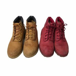 Timberland Youth Ankle Boots LOT of 2 Pairs Primaloft Tan Red Leather Size 2