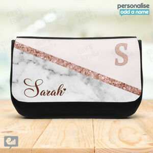 Personalised Marble Glitter Pencil Case Stationary Make Up Bag School Kids Gift