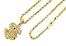 """24"""" 4mm Rope Chain Hip Hop Necklace 7488 14K Gold Pt Iced Dollar Sign Pendant w"""