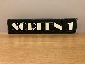 SCREEN 1 CINEMA Sign Vintage Old Antique Style Wooden Home cinema tv room gift