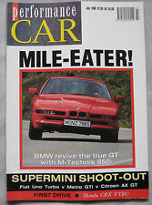 Performance Car 07/1990 featuring BMW 850i, Nissan 300ZX, Citroen AX GT, Fiat
