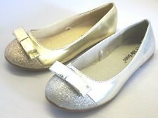 Jelly BeanGirl Flats w/Glitter and Bow (POSA) Youth Flower Girl Silver Red Gold