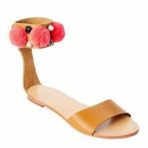 Manoush Natural Babouche Embellished Ankle-Strap Sandals Open Toe Leather US 6