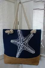 Blue Starfish Hamptons Rope & Hessian Large Canvas Shopper Tote Beach Bag