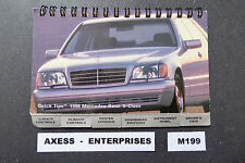 1998 Mercedes S S320 S430 S500 S600 Owners Pocket Quick Reference Guide # M199 L