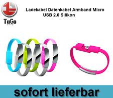 Ladekabel Datenkabel Armband Micro USB 2.0 Silikon Blau NEU OVP