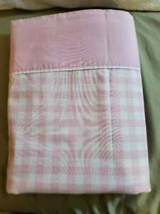 Vintage Flat Sheet Pink White Plaid Twin 50/50 Percale 75x97