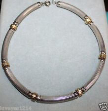 vintage Sterling Silver Tube Bead Heavy Necklace w/yellow gold or brass 35 grams