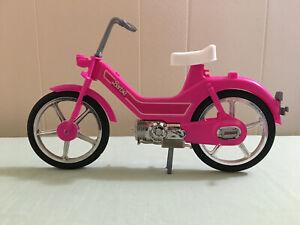 Vintage 1983 Barbie Motor Bike Moped Scooter Pink Free Standing