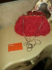 FOLLI FOLLIE MESSENGER CROSS BODY HANDBAG/CLUTCH SATIN & TULLE HOT PINK *CHAIN