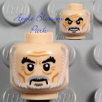 NEW Lego Light FLESH MINIFIG HEAD Grandpa Old Man w/Gray & White Moustache Beard