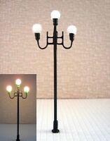 S366 - 5 Stück LED Straßenlampen nostalgisch 3-flam 7,7cm Parkleuchte Marktplatz