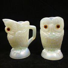 SET White Milk Carnival Glass OWLS SUGAR CREAMER Imperial SUMMIT Iridescent