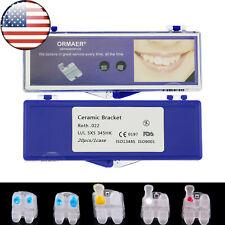 US Ormaer Dental Ceramic Orthodontic Bracket Brace Roth 022 345 Hooks Mesh Base