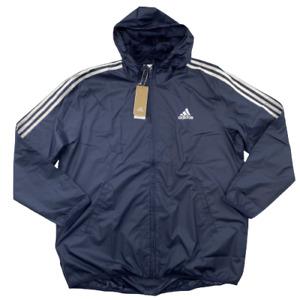 Adidas Essentials Men's 3-Stripe Full Zip Hooded Windbreaker Navy Blue/White XL