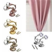 2pcs/Pair Vintage  Crystal Rose Pattern Wall Tieback Curtain Hook Hanger   US