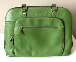 Franklin Covey Green Leather Briefcase Tote Bag Purse Laptop Bag Footed