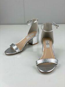 London Rebel Womens Cammy Silver Synthetic Sling Back Block Heels Open Toe Sz 7