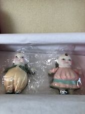 Vintage Bisque Porcelain 4 Inch Set of Happy Fats Dolls Jointed Arm Fixed Legs