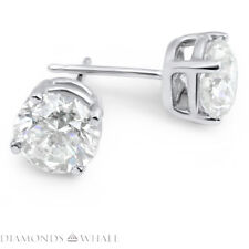 1.3 CT VS1/D 14K White Gold Round Stud Diamond Earrings Wedding Enhanced