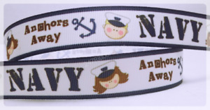 "10YD Navy Anchors Away Inspired Printed Grosgrain Ribbon 7/8"" Wide blue Kids"