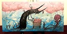 GUS FINK Art ORIGINAL Outsider Painting Comic Abstract Surreal HOMELESS HEROES