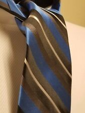 GEORGE 100% Blue Silver Black Striped Necktie
