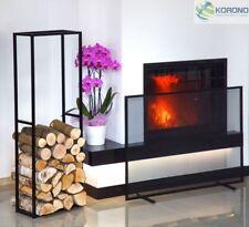 Kaminholzregal Holzständer und Kamingitter Funkenschutzgitter aus Stahl im Set