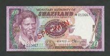 SWAZILAND  20 emalangeni  SPECIMEN  1974  PCS1  Uncirculated  Banknotes