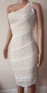 VICKY MARTIN nude ivory lace fitted one shoulder knee dress 10 12 BNWT wedding