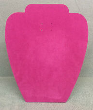 Set of 10 Jewellery Display Card Busts [A] Fuchsia Pink Suedette