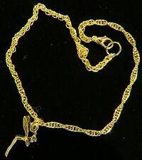 Tinkerbell Anklet Disney's Tinker Bell Fairy 24 Karat Gold Plate Ankle Bracelet