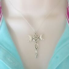 WICCAN PAGAN TRIPLE Moon PENTAGRAM with GODDESS Silver Charm Necklace.