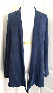 J Jill JJill Love Linen Blue Open Front Cardigan Sweater Petite M MP